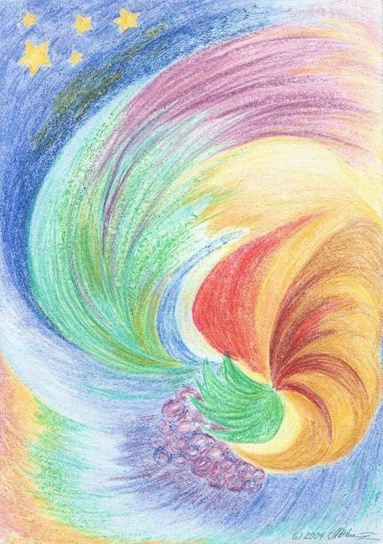 Легкие но красивые рисунки восковыми мелками